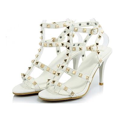 Sandales à Talons Hauts d'été pour Femme, Talon Haut des Sandales Rivet TrèS Bien Avec Boucle Chaussures Mode FêTe Banquet, White, 36