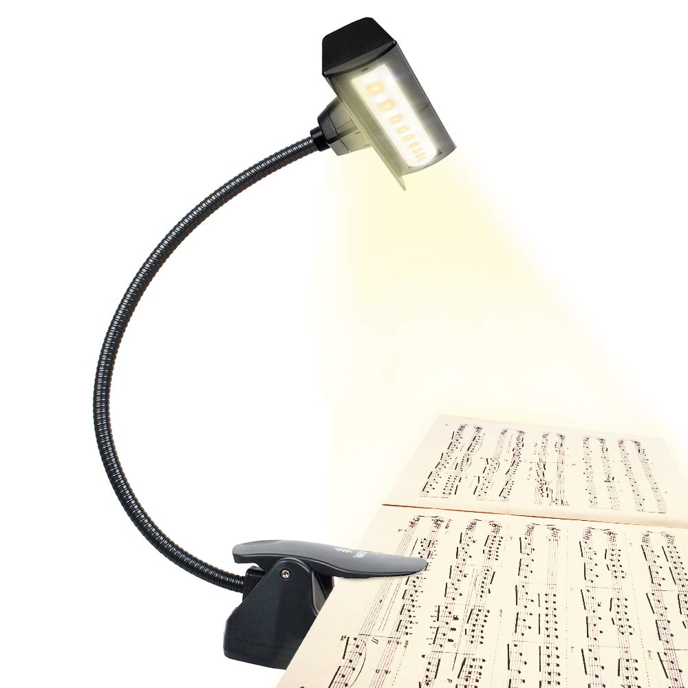 Professional Musician 3000K-6000K Super Bright 19 LED Music Stand Light, Clip On Orchestra Piano Lights, 9 Levels Dimmable Rechargeable. Perfect for Piano, Orchestra, Craft. USB Cord Incl. by Vekkia