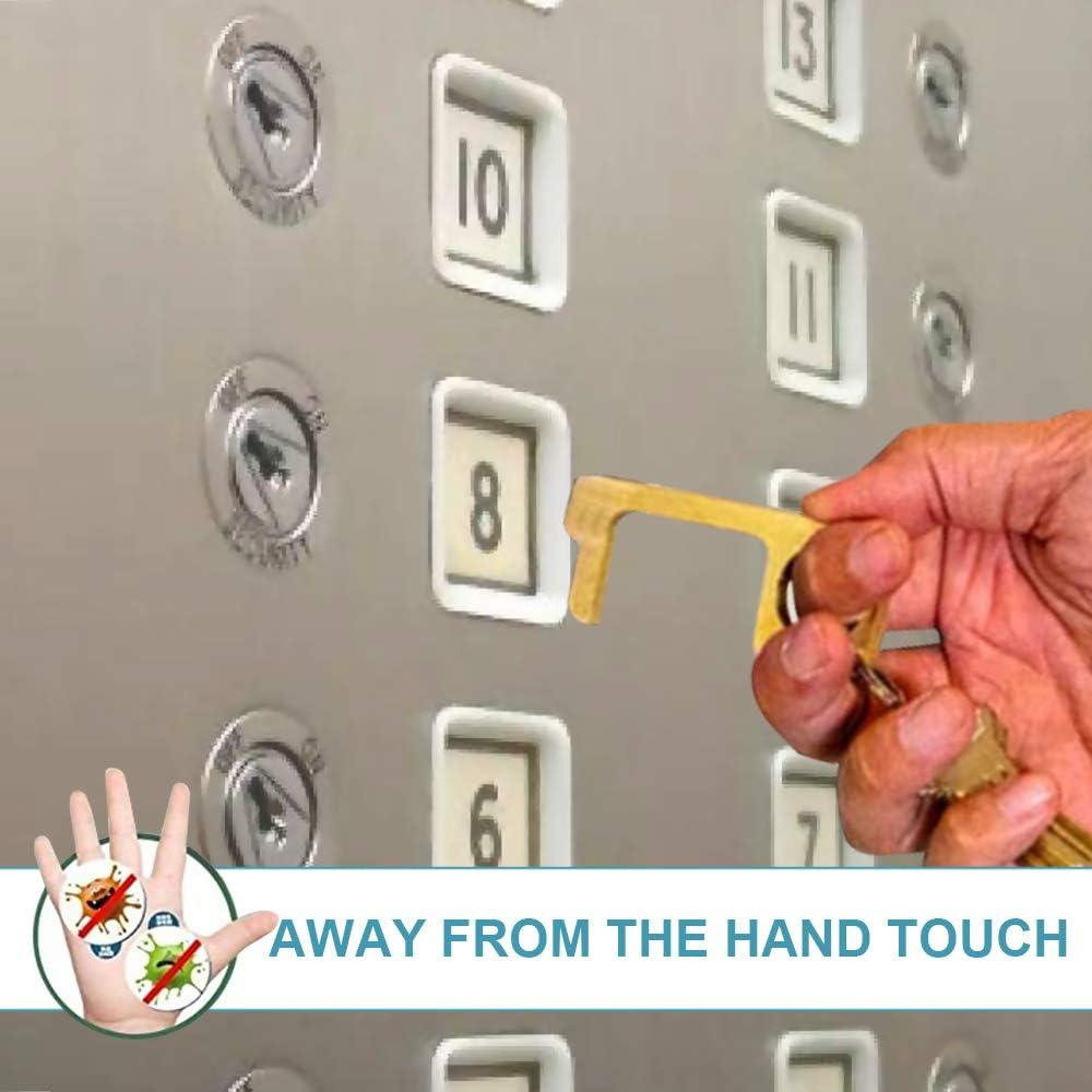 Contactless EDC Door Opener Keep Hands Clean Easy to Carry Brass No-Touch Door Opener 2PCS Key Tool for Outdoor Public Door Handle Touchscreen Button
