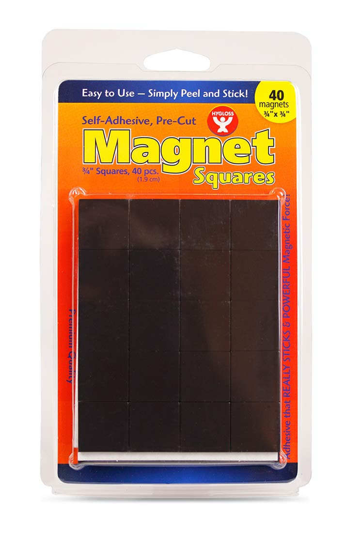 Hygloss Products, Inc 61407. Magnet Squares, Self- Adhesive, 3/4-Inch, 40 Pcs