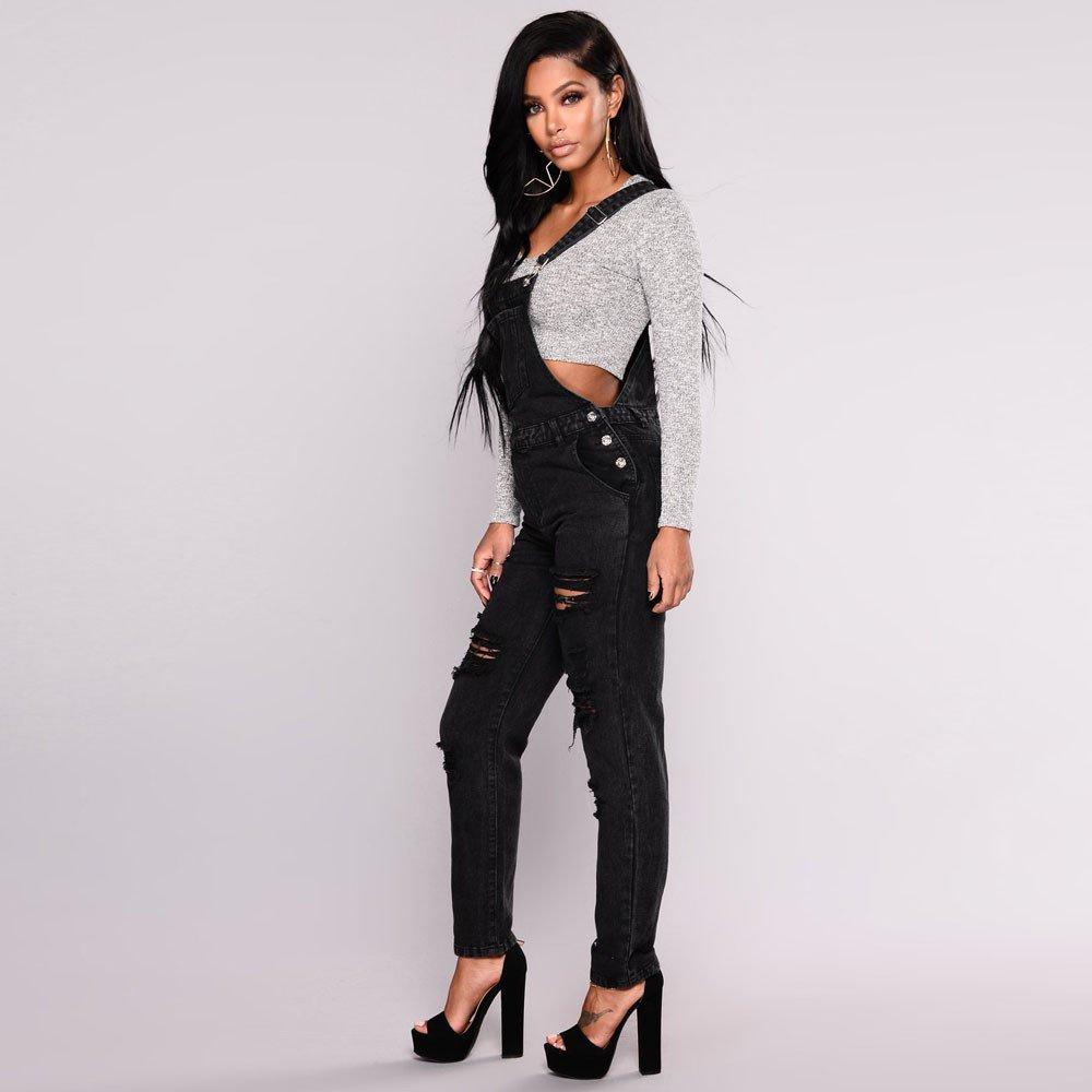 4674223664bf Amazon.com  TIMEMEANS Jumpsuit Womens Slim Denim Jeans Pants Ripped Overalls  Straps Trouser  Clothing