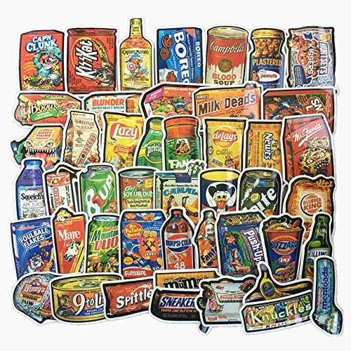 - Jasion 50-Pcs Vinyl Stickers Vintage Funny Snacks Food Cartoon Graffiti Decals for Water Bottles Cars Motorcycle Skateboard Portable Luggages Phone Ipad Laptops