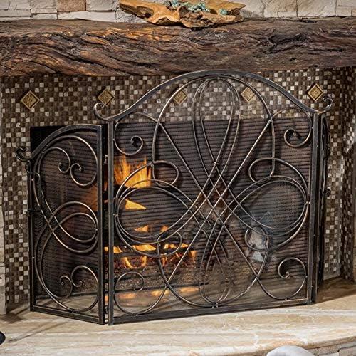 3パネル鍛造鉄暖炉スクリーン、大型フラットガードブロンズメタル装飾メッシュカバー、農家屋内屋外用
