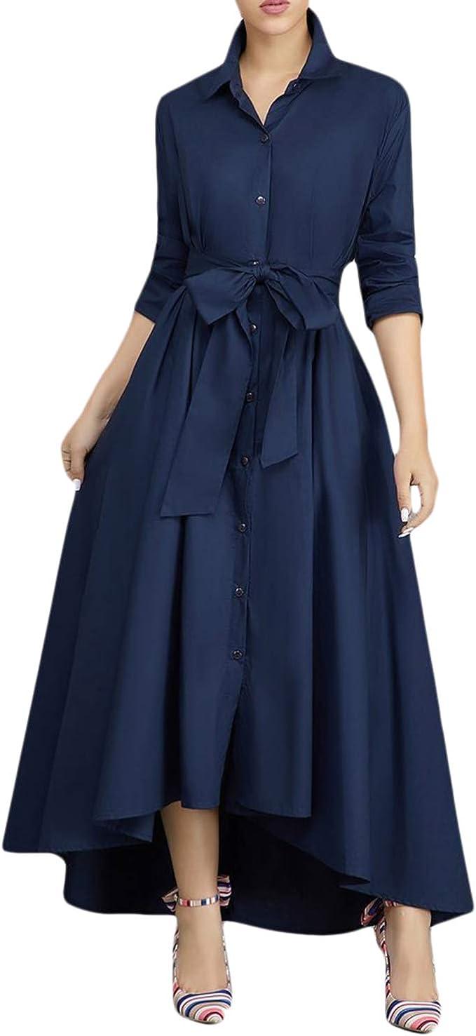 semen Damen Kleid Maxi Blusenkleid Asymmetrisch Elegant Langarm Stehkragen  Fashion A Linien Button Through Gürtel Hemdkleid Business Freizeitkleid