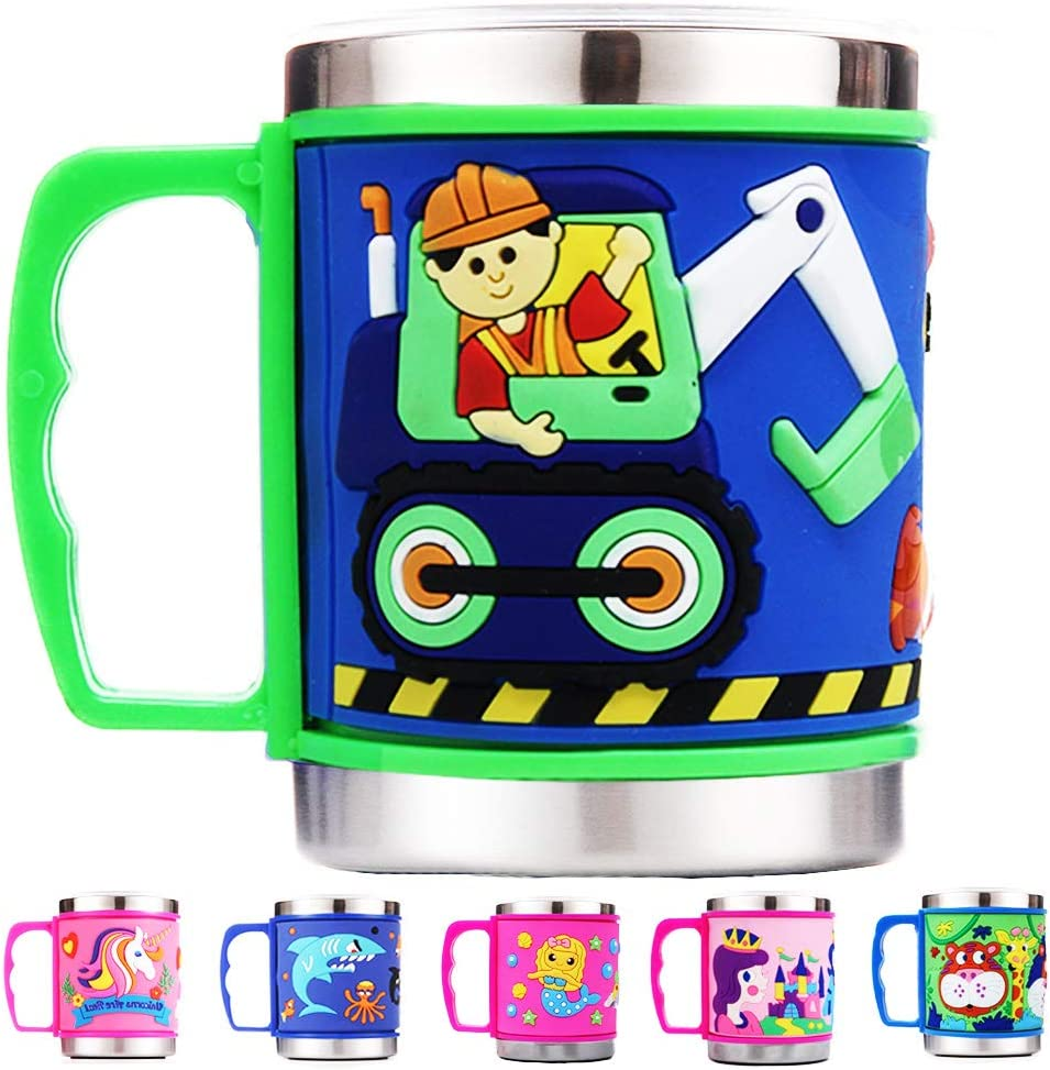 12 Oz Kids 304 Stainless Steel Trucks 3D Mug with 2 Pack Slider Closure Lids - Eco-Friendly - BPA Free - by F-32 Signature Collection (Trucks)