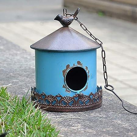 PQXOER Casas para Pájaros Hierro casa del pájaro for la Cabina pequeño pájaro Birdhouse al Aire Libre decoración Colgante Casita para Pájaros (Color : B, Size : 10.1x10.1x15.6cm): Amazon.es: Hogar