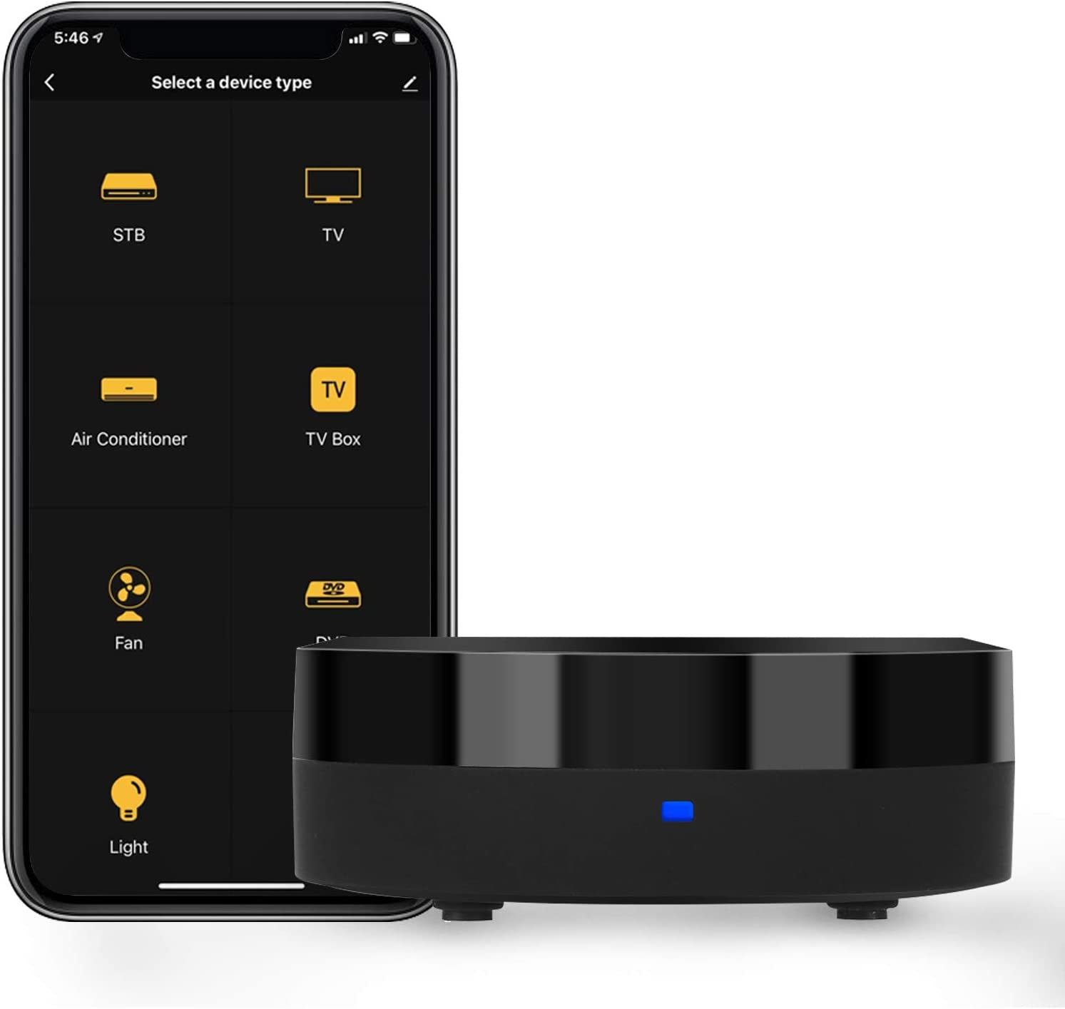 IVY Smart Home Phone Hub-WiFi Universal Remote Control IR Blaster for TV Projector Air Conditioner Fan etc,All IR Control Device,Compatible with Alexa, Google Home, HomePod, IFTTT