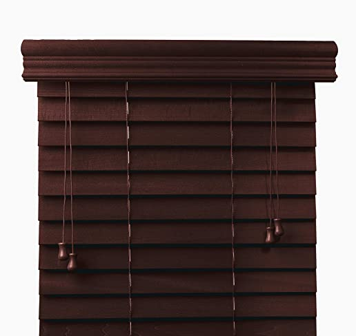 Bravada Select, Superior 2 Custom Real Wood Blinds Mahogany, 30 1 2 Wide x 72 Length