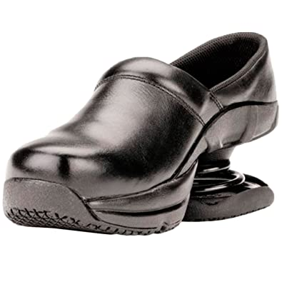 Pain Relief Footwear Men's Toffler Slip Resistant Black Leather Clog Sandal