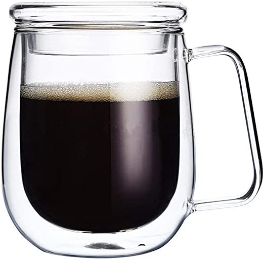 Amazon.com: Taza de café grande con doble pared de vidrio ...