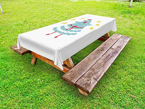 Lunarable Chicken Outdoor Tablecloth, Mother Hen Bird with Her Babies Domestic Doodle Animals Abstract Poultry Cartoon, Decorative Washable Picnic Table Cloth, 58 X 104 inches, Multicolor by Lunarable