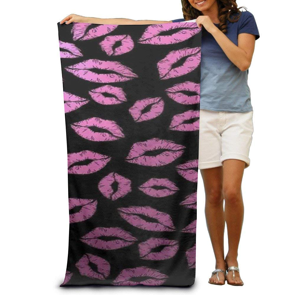 xcvgcxcvasda Pink Lips Teens Beach Towel Pool Towel Sport Towel Thick Soft Quick Dry Absorbent 31\'x 51\' Unique Pattern Design
