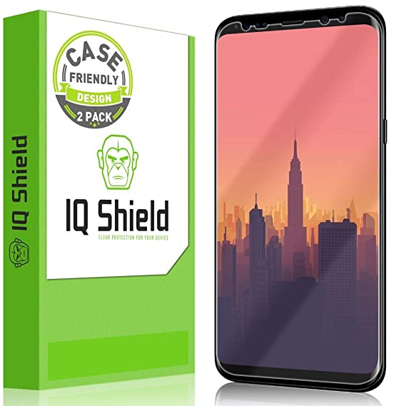 [2-Pack] IQ Shield LiQuidSkin Clear [Case Friendly] Screen Protector for  Samsung Galaxy S8 Plus Bubble Free Film [Not Glass]