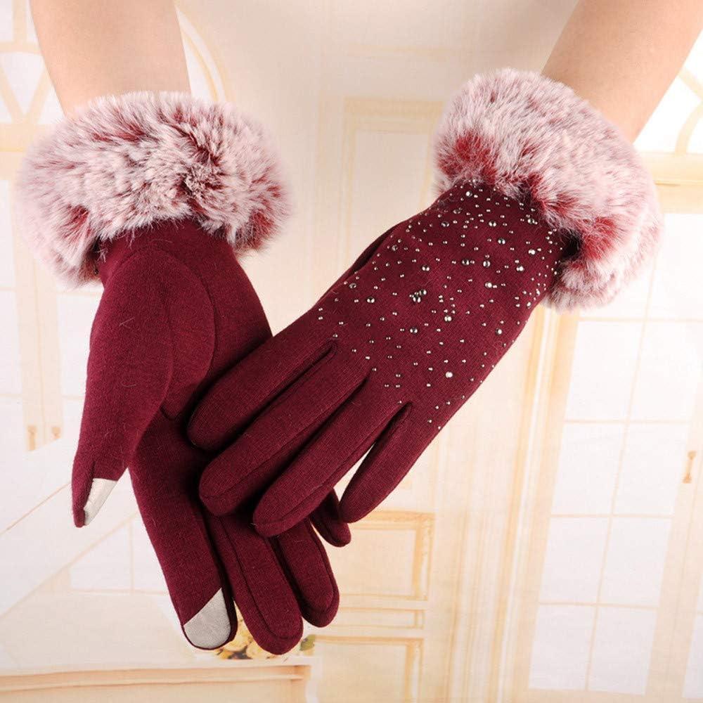MMOOVV Gloves Womens Winter Warm Touch Screen Warm Mittens Rhinestone