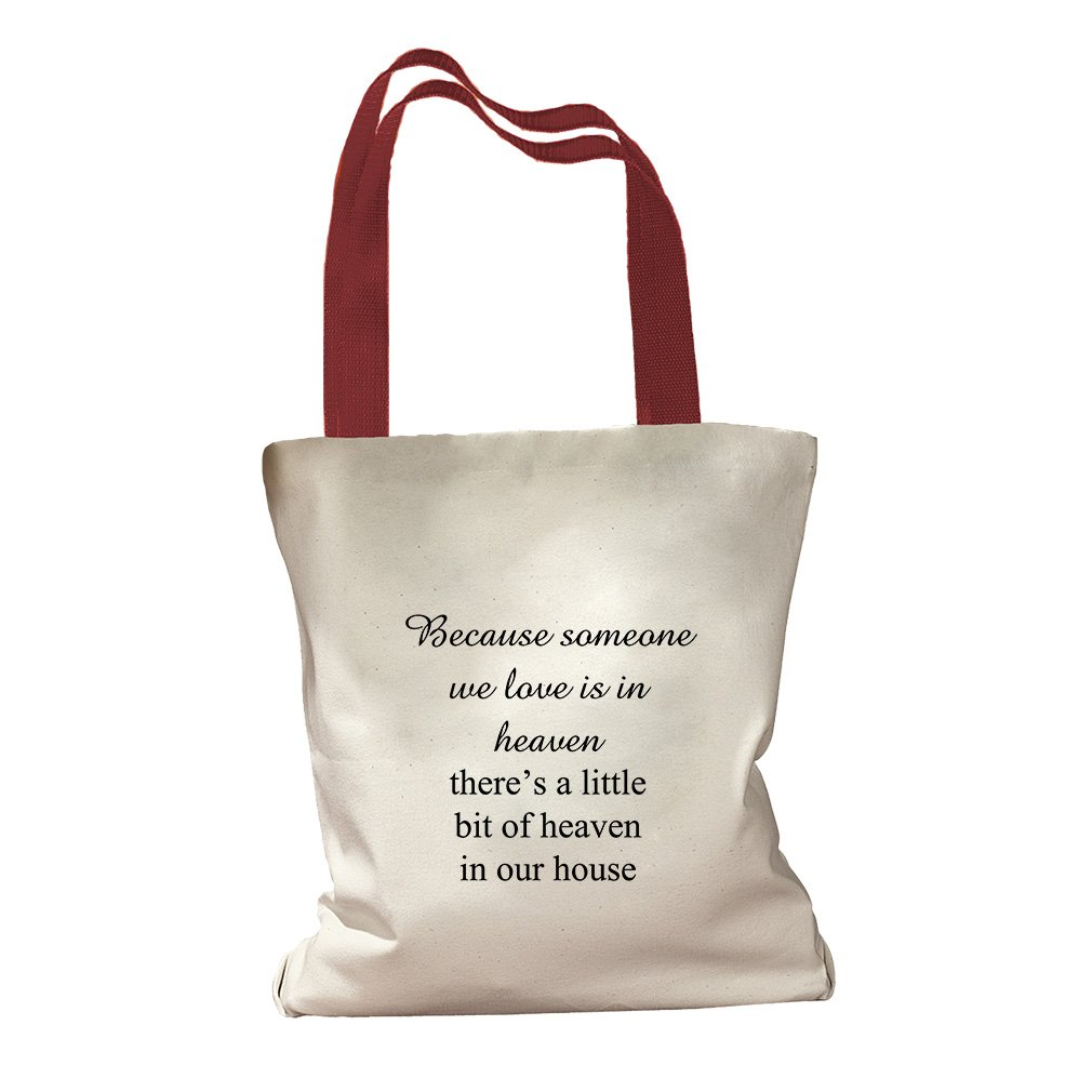 We Love A Little Bit Of Heaven In Our House Canvas Colored Handles Tote - Red