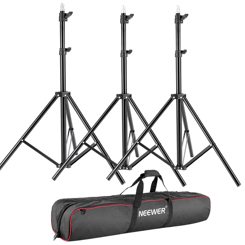 Neewer 3 Pieces 75 6 Feet 190CM Photography Light Stands Kit with 31 80cm Light Stand Bag for Reflectors, Softboxes, Lights, Umbrellas, Backgrounds