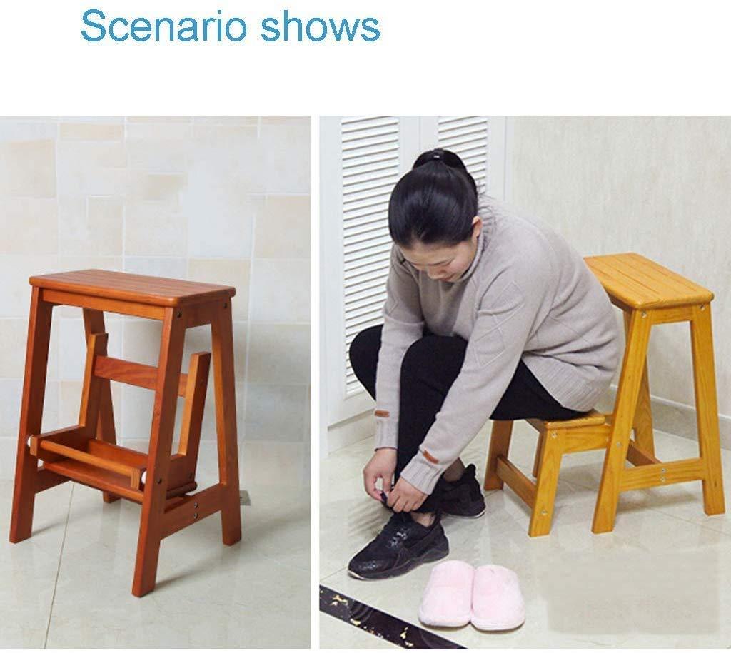 Vuxna stol hopfällbar skobänk, trappstol, trä 2-stegsledare, greppbart bibliotek, sovrum, vardagsrum, lätt att förvara, 48,5 × 29 × 55 cm skiljevägg med handtag, A, (färg: C) c
