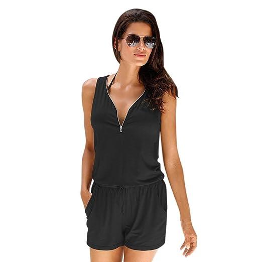 5a9405aff0c Amazon.com  Keepfit Zipper Front Romper Jumpsuit