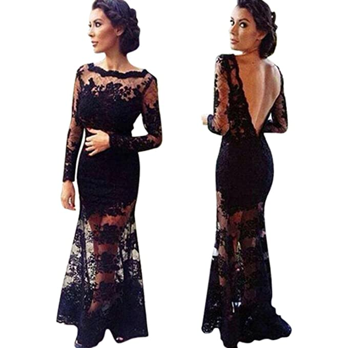 a0c46f47c Sunward Women s Sexy Formal Floral Lace Backless Long Sleeve Evening Party  Maxi Dress (S