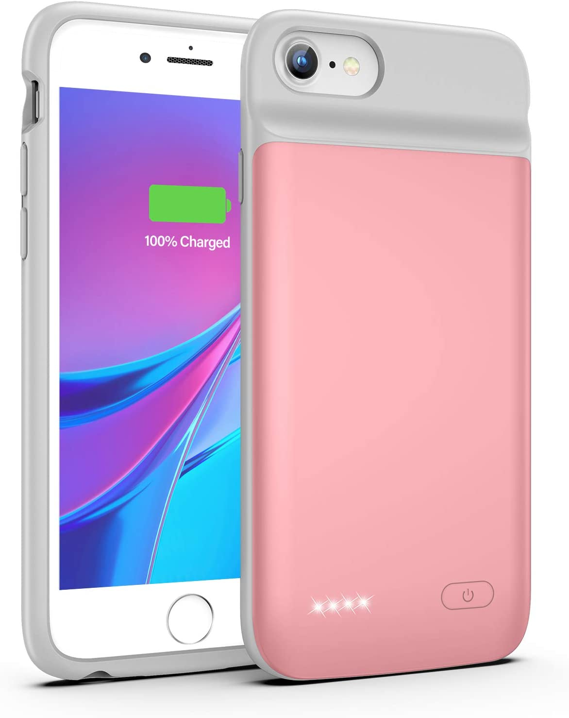 Battery Case for iPhone 8 7 6s 6 SE 2020(2nd Generation), 3200mAh Charging Case Portable Protective Charger Case for iPhone 8 7 6s 6 SE 2020(2nd Generation) (4.7inch)(Rose Gold)