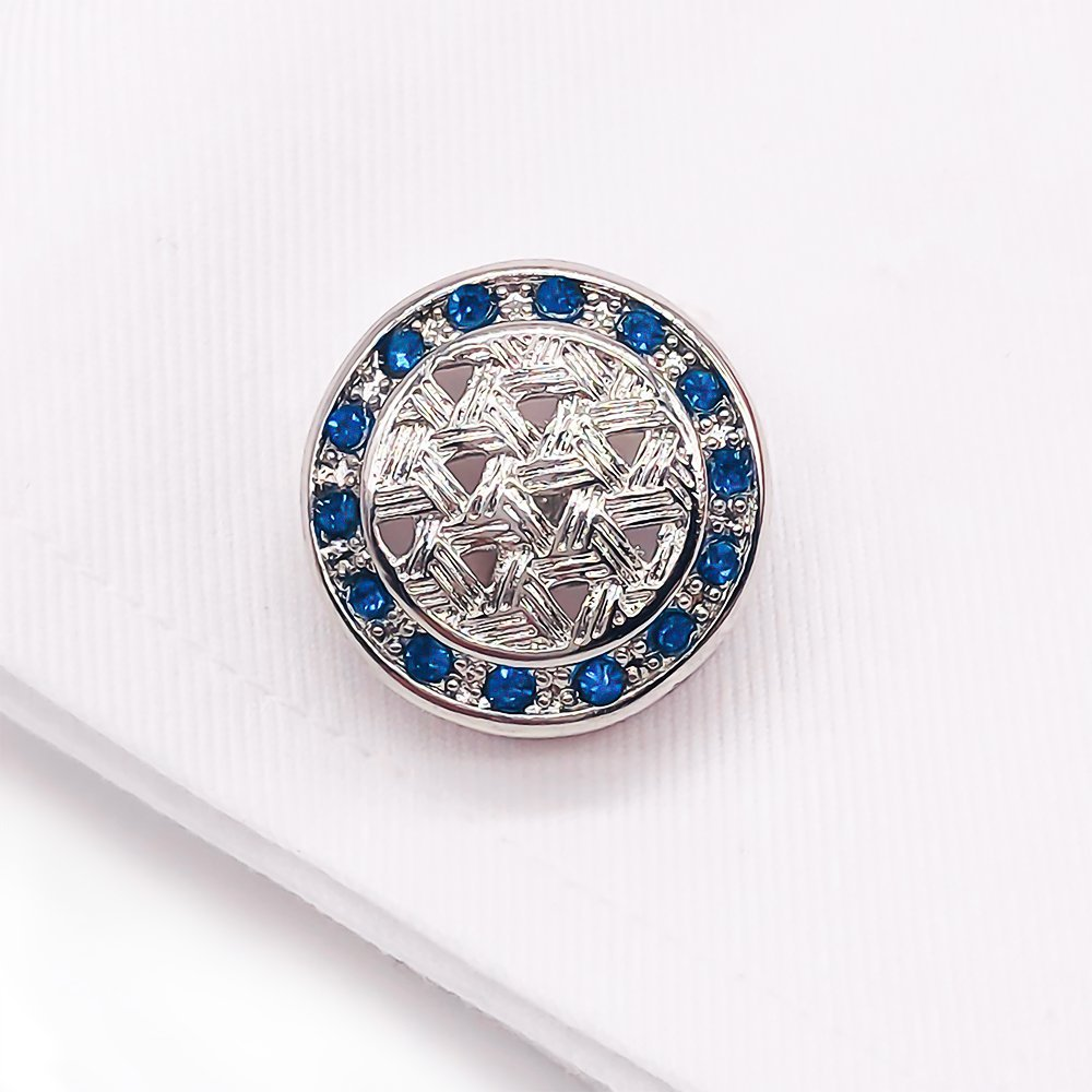 VIILOCK Round Woven Pattern with Shiny Crystal Cufflinks Wedding Gift for Men (Silver) by VIILOCK (Image #5)
