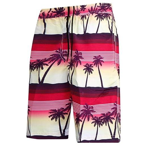 c46dff3664 Hunzed Casual Mens Swim Trunks Quick Dry Printed Beach Shorts Summer  Boardshorts with Pocket Beachwear Holiday