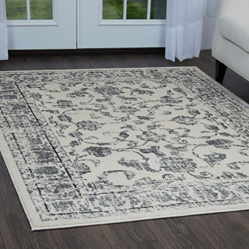 Home Dynamix Vintage Solane Area Rug | Trendy Style, Distressed Finish | Durable Polypropylene Area Rug | Ivory and Gray | Fade and Stain Resistant, Easy to Clean, 7'9
