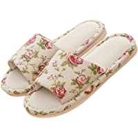 Women's Comfort Slip On Open Toe Floral Cotton Flax Soft Slide House Slippers