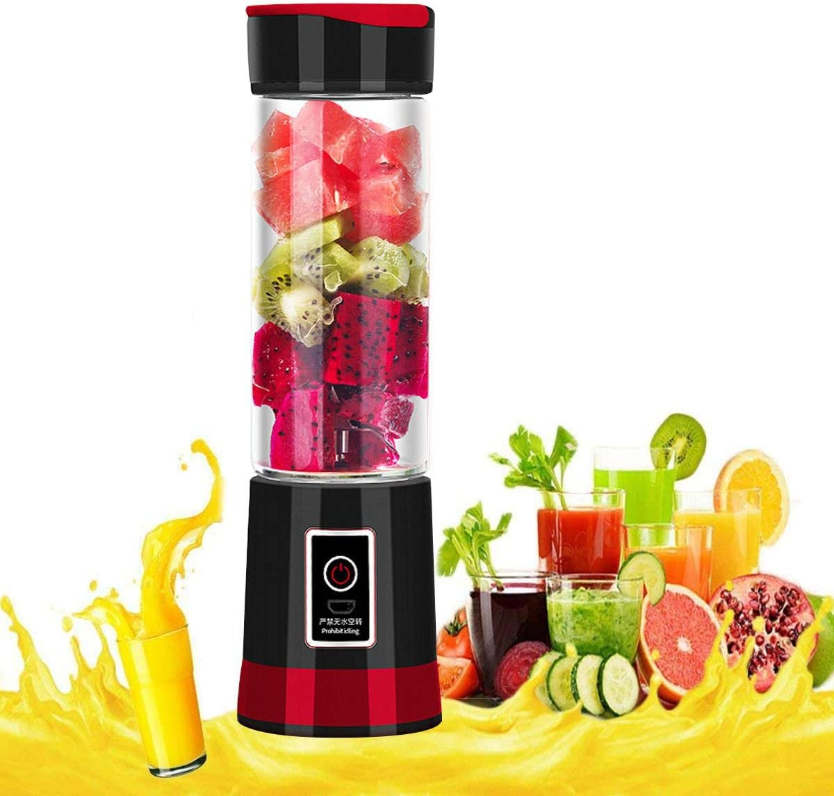 USB Juicer Cup, Upgraded Version Portable Single Serve Electric Rechargeable Fruit Mixer Water Bottle 500ML, Personal Size Juicer Blender with Travel Lid for for Shakes, Soup Smoothies Maker