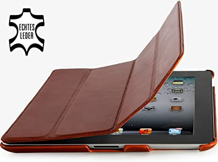 StilGut Leder Hülle kompatibel mit iPad 2 Couverture mit Smart Cover Funktion, Cognac
