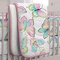 Carousel Designs Bright Damask Butterflies 3-Piece Crib Bedding Set