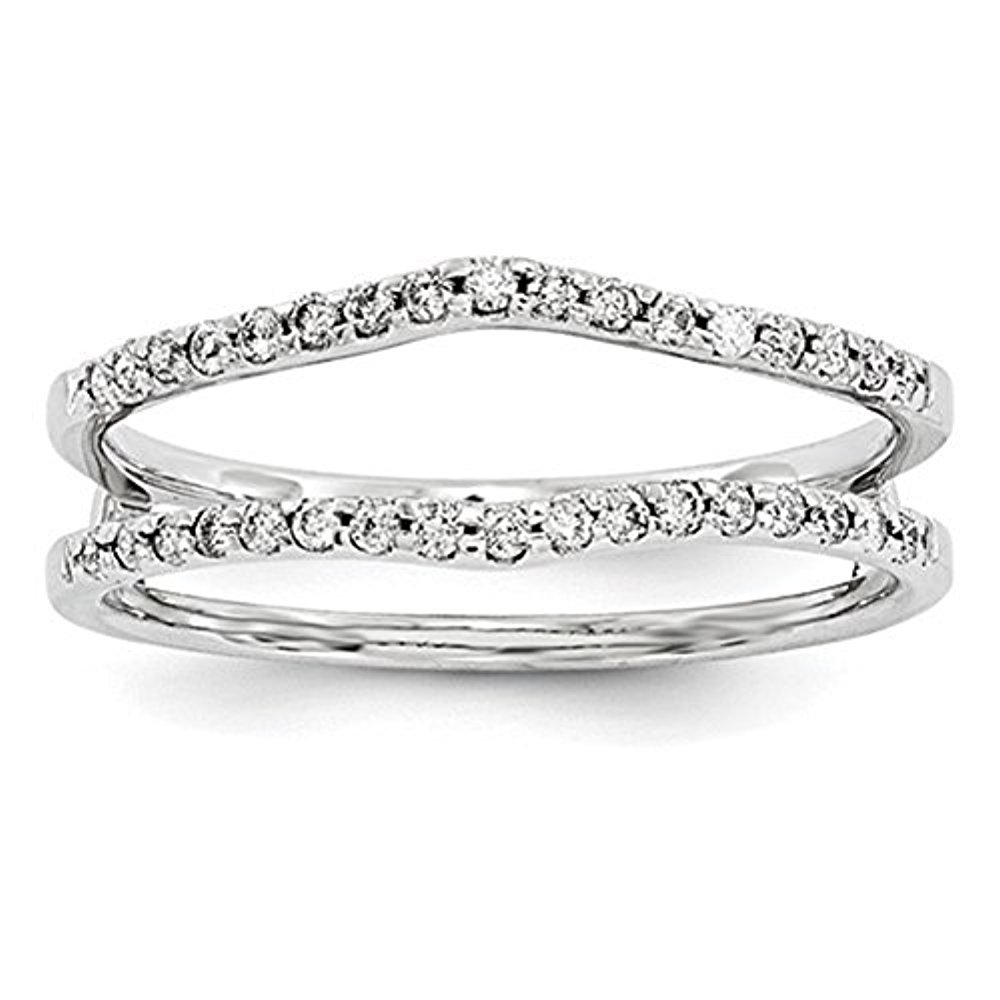 Solid 925 Sterling Silver Simulated Diamonds Wedding Band Ring Guard Enhancer For Womens tusakha TUS-0001