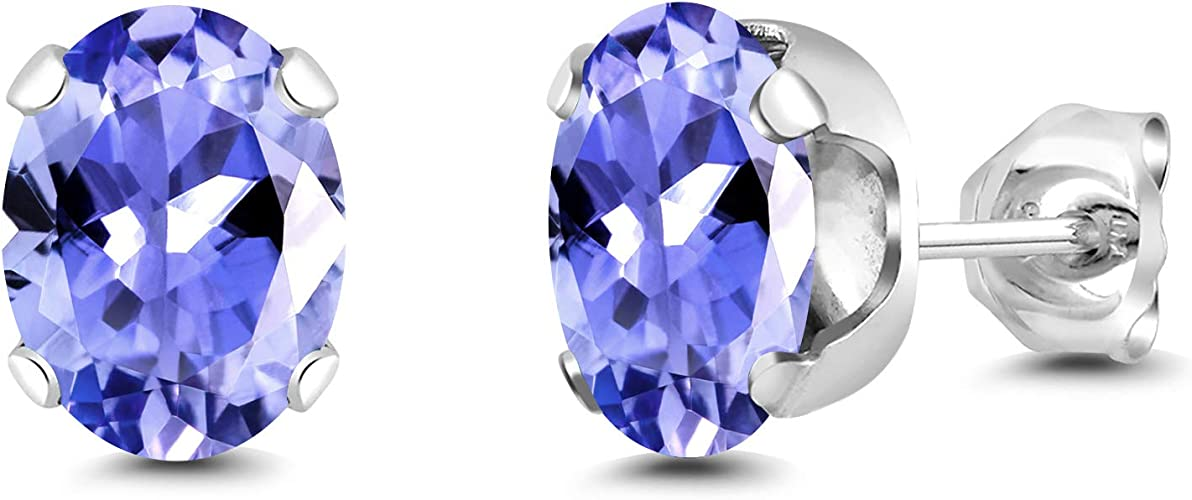 2.32 Ct Oval Blue Tanzanite 925 Rose Gold Plated Silver Earrings