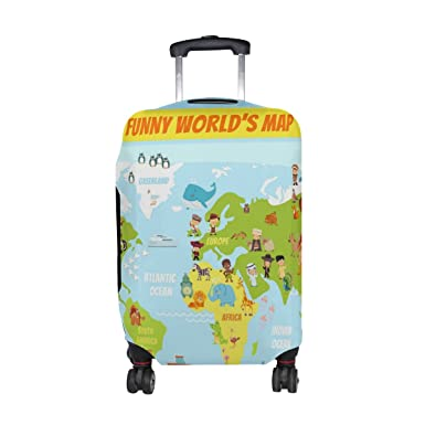 Amazon u life funny animal world map luggage suitcase cover u life funny animal world map luggage suitcase cover protector for travel gumiabroncs Gallery