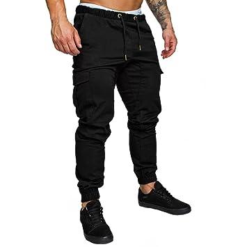 LuckyGirls Pantalones Hombres Chandal Originales Color Sólido Slim Fit Pantalones de Trabajo Casuales Elasticos Deportes Suelto