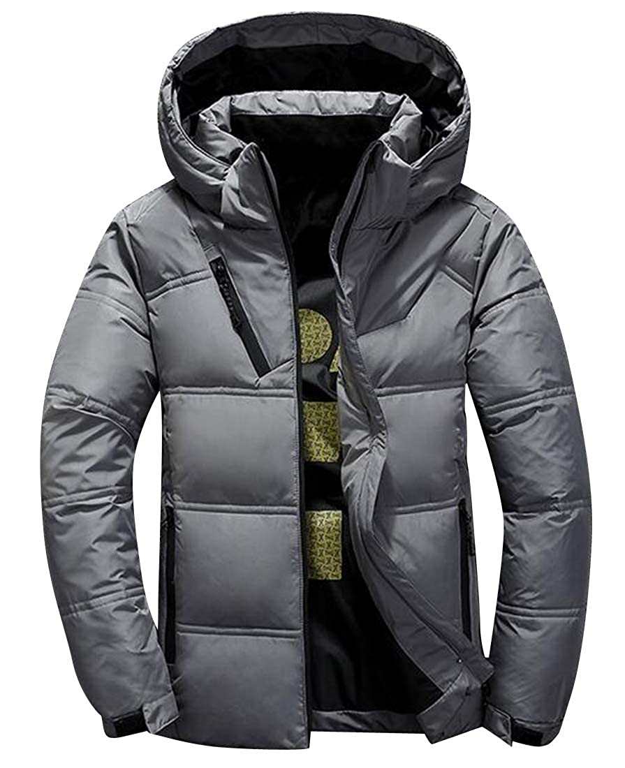 Fubotevic Mens Hoodie Plus Size Warm Zip Front Down Puffer Jacket Coat Outwear