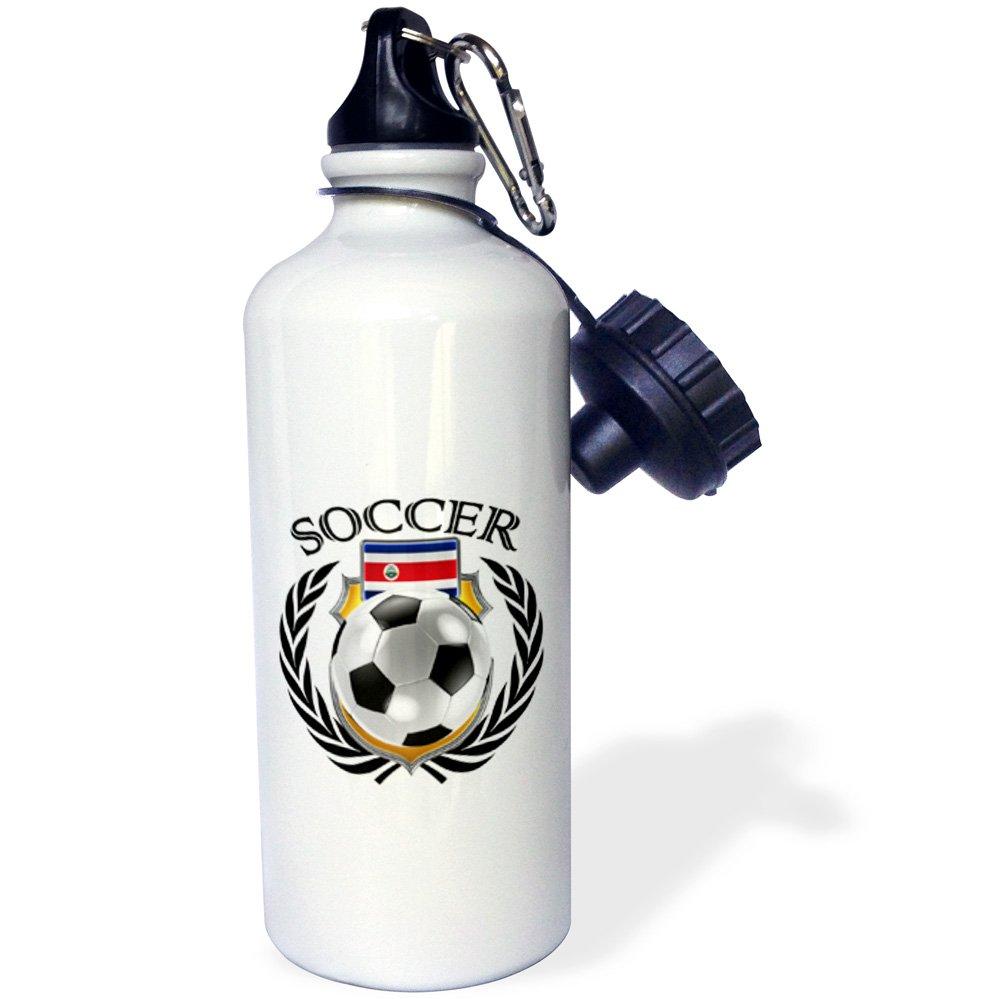 White 21 oz 3dRose wb/_239688/_2Costa Rica Soccer Ball with Fan Crest Flip Straw Water Bottle