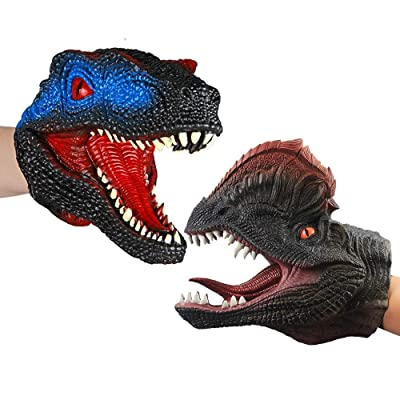 ZY Dinosaur Hand Puppet Suit Double Crowned Dragon & Velociraptor Gloves Toy Role Playing Props Halloween Doll Children's Toys: Home & Kitchen