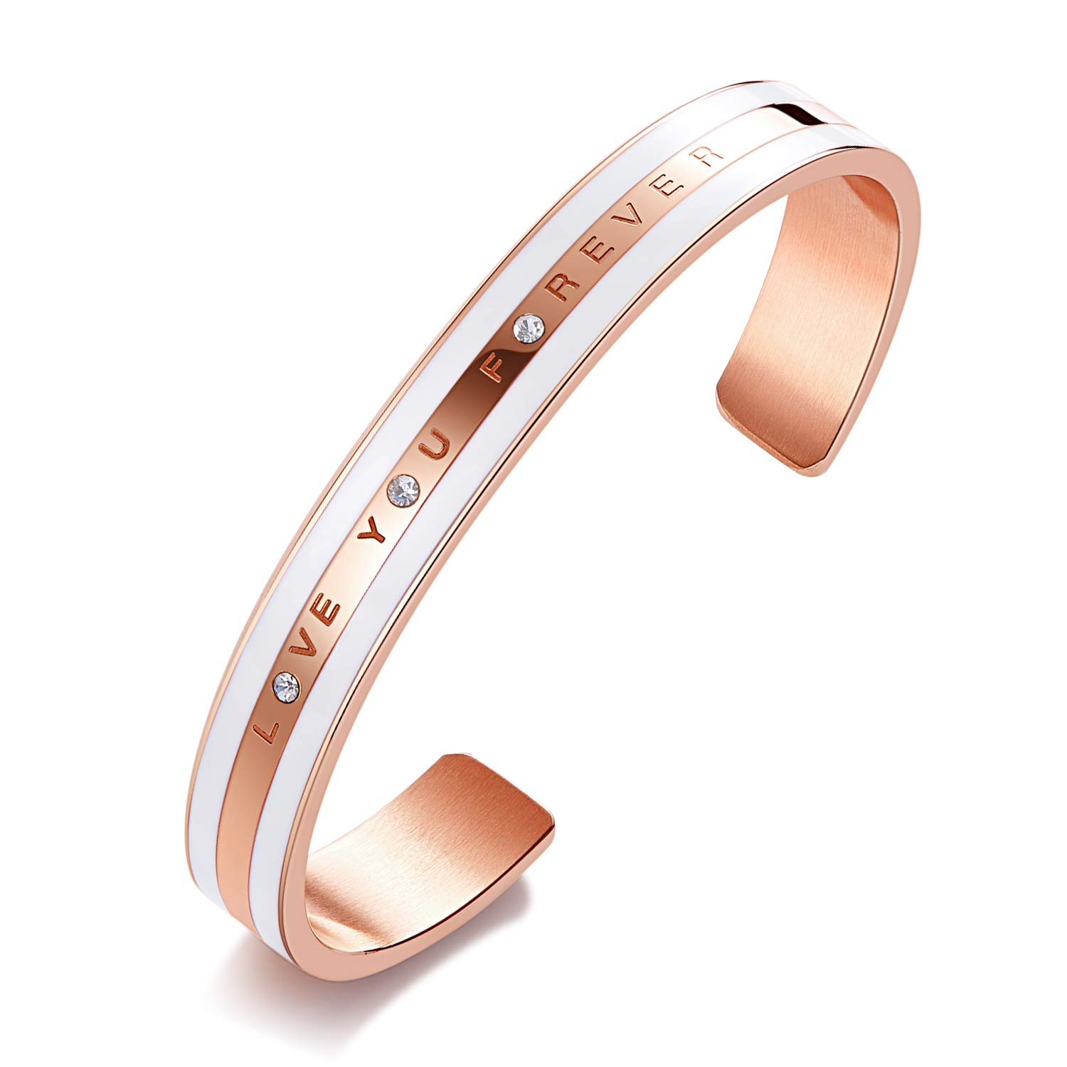 CDE 18K Rose Gold Bracelet Swarovski Crystals Bangle Cuff Love You Forever Stainless Steel Jewelry for Women Gift Fits 6-7.5 inch Wrists, Gift for Mothers Day