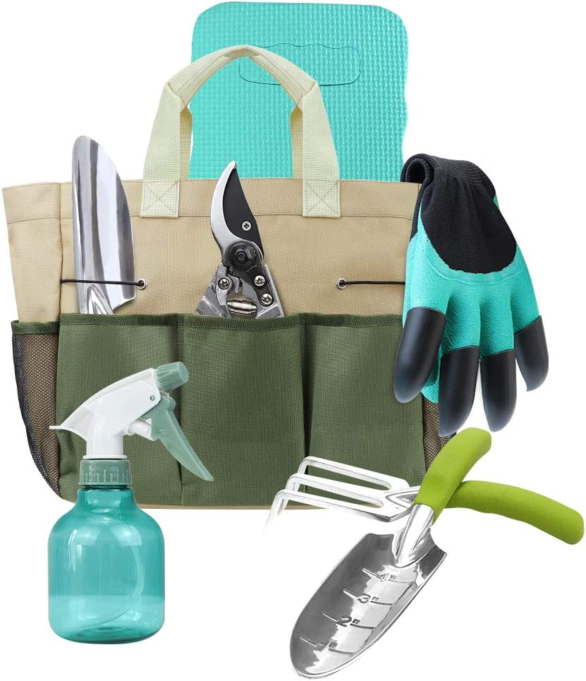 Megawodar Garden Tools Set with 3 Pcs Aluminum Gardening Tools, 1 Pc Pruning Shear, 1 Pc Mister Spray Bottle, 1 Pc Foam Kneeler and 1 Pc Gardener Bag as A Nice Gardening Gift for Mom/Dad