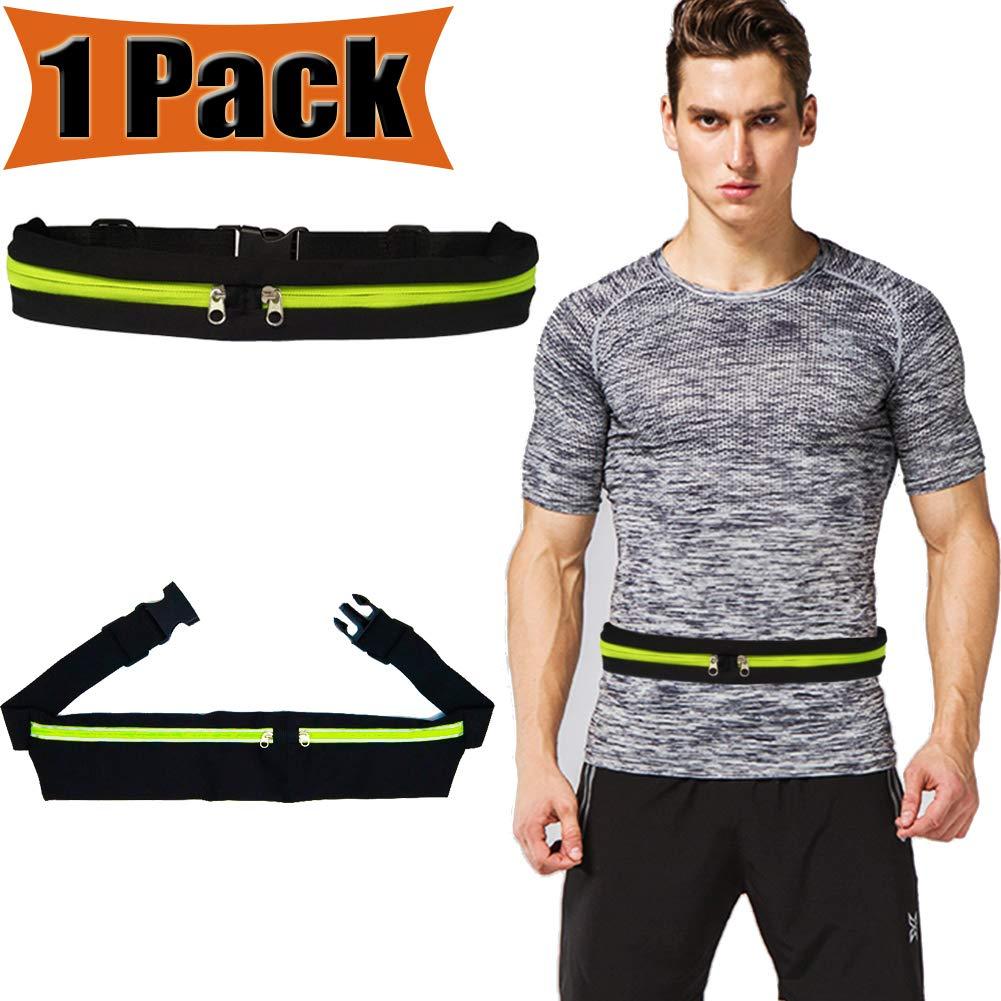 Running Belt Waist Pack Waistband Waterproof Runners Fitness Workout Adjustable hold 6 Inch Phone Waist Storage Money Wallet Walking Jogging Exercise Sport Security Pockets Zippers