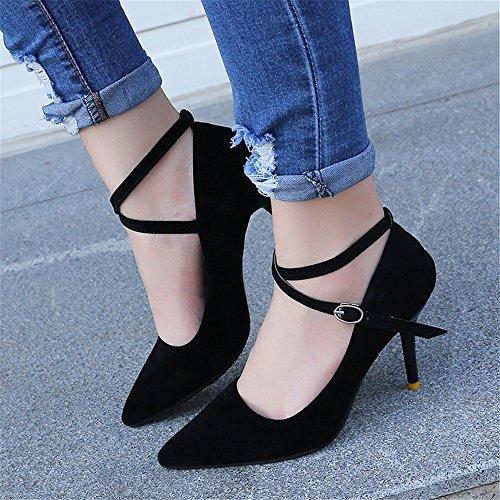 solo boca alta ultra la tacón con mujeres zapatos un boda señaló gamuza zapatos alto de de de con finos LIVY tirantes nueva baja 2017 Negro zapatos 7waqaO