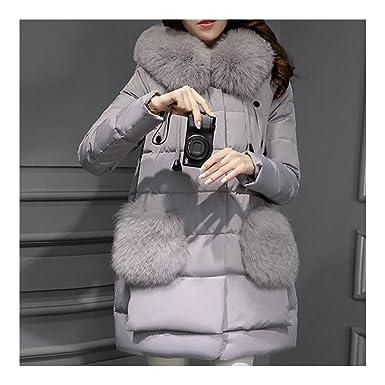 Femme Trois quart Longue Fake Fox Fur A Shape Doudoune gris