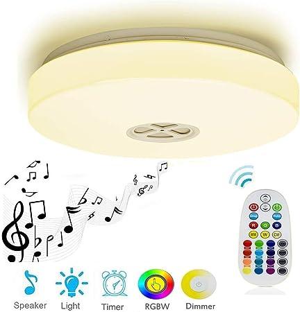 RGB DEL Plafonnier Variateur Nuit Lampe Bluetooth haut-parleur télécommande