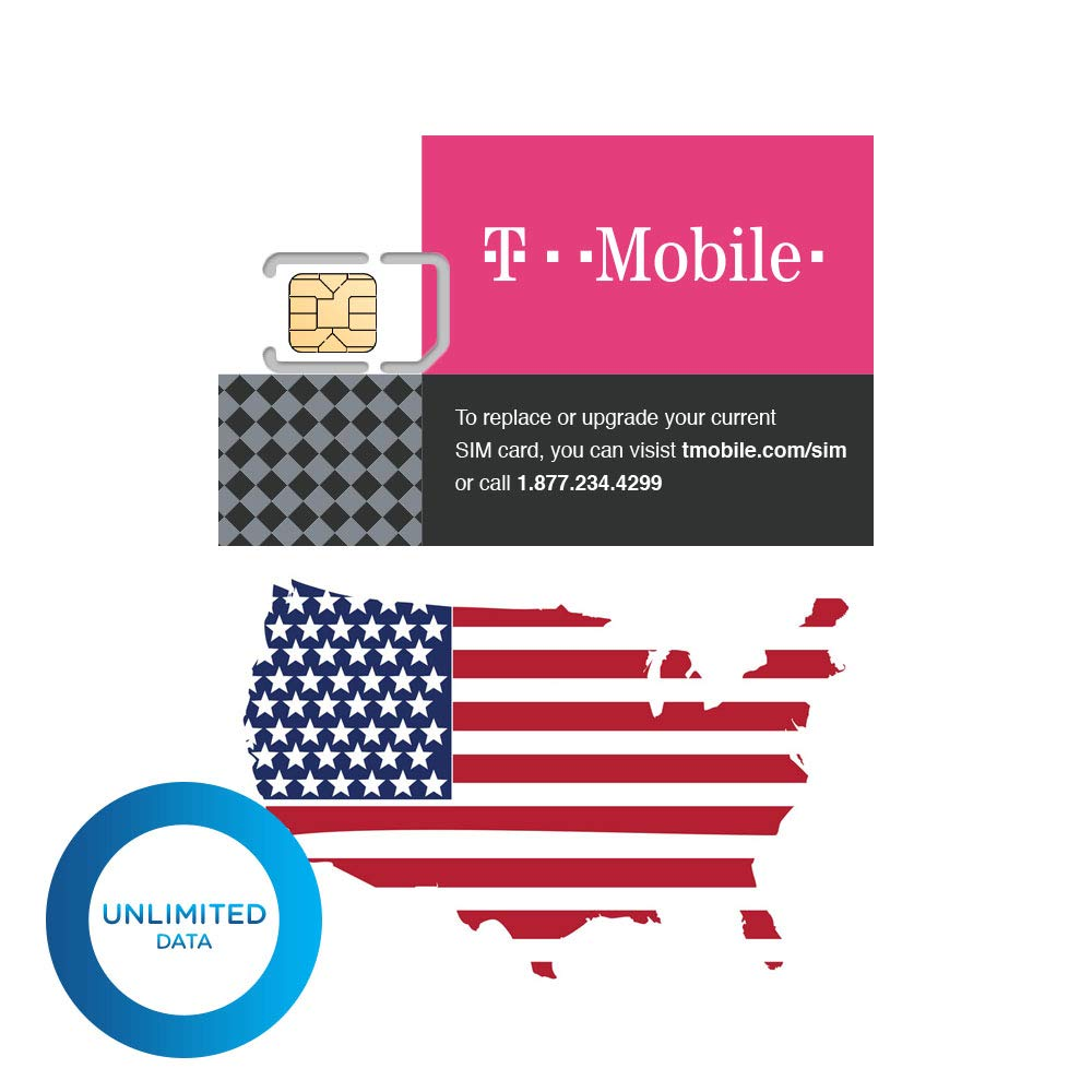 (30 Days High-Speed Unlimited Data) Authentic T-Mobile Tmobile Prepaid Sim Card Unlimited High-Speed (True Unlimited, No Throttling) 4G/3G/2G LTE Unlimited Talk Text GSM (USA) Unactivated Hotspot