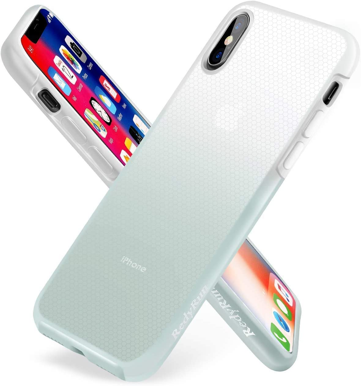RedyRun iPhone 11 Pro Max Phone Liquid Silicon Cases Genuine Full Protective Silicone Gel Cover Bumper Shockproof Ultra Slim Thin Hard Plastic Hybrid Transparent Shock Drop Proof Matte,White-Green