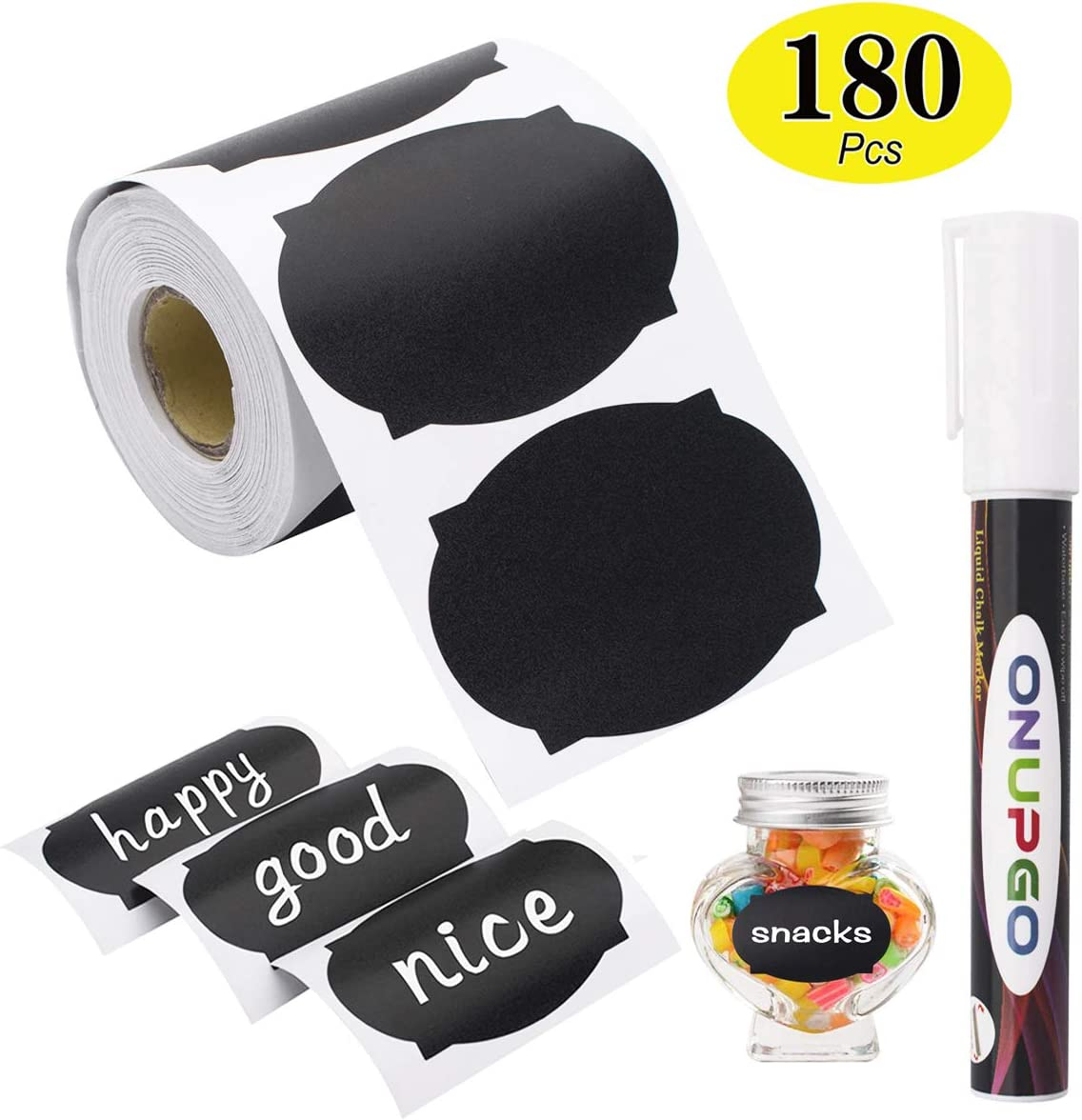 ONUPGO Chalkboard Labels-180pcs Waterproof Reusable Blackboard Stickers with 1 Liquid Chalk Marker for Mason Jars, Parties Decoration, Craft Rooms, Weddings, Storage, Organize Your Home & Kitchen