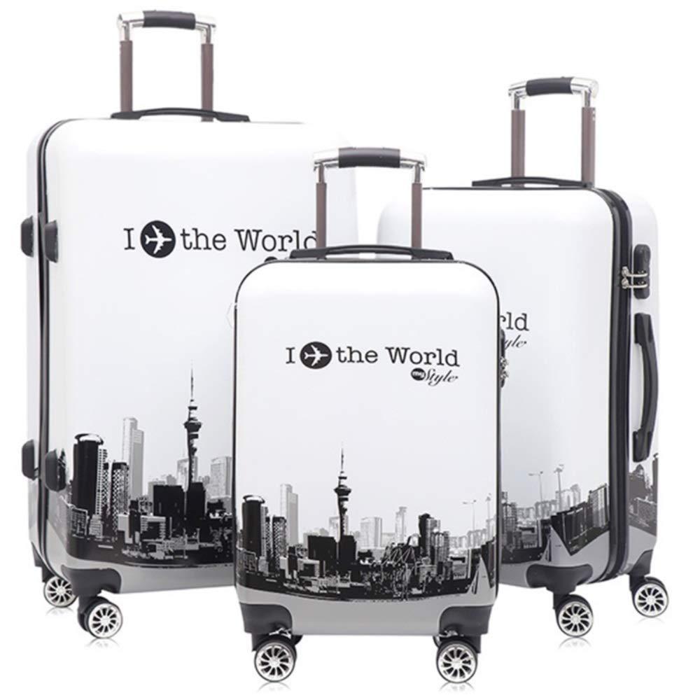 スーツケース 建築印刷ハードシェル回転荷物セット女性旅行李ポータブルポータブルコラムハンドサイレントローテーター多方向ホイール 圧縮服スーツケース (色 : 白, サイズ : 20in+24in+28in) B07SX6HK6S 白 20in+24in+28in