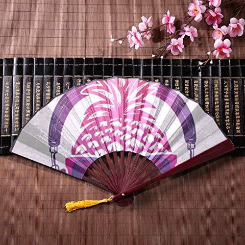 (JXCSGBD Chinese Folding Fans for Women Sun and Hibiscus Stripes with Bamboo Frame Tassel Pendant and Cloth Bag Fancy Folding Fan Fan Hand Large Chinese Folding Fans for Women)
