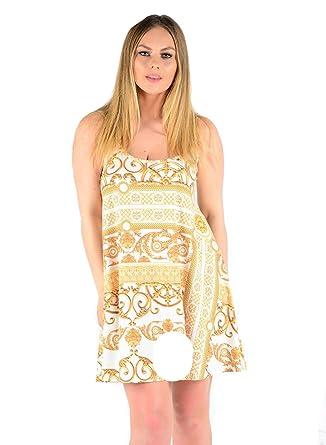 df406536ac743 MISS BOHO CHIC New Women Plus Size Cami Printed Swing Dress Top (Gold  Paisley Print